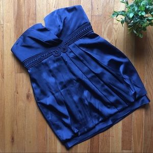BCBGMAXAZRIA Navy Blue Strapless Mini Dress EUC